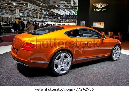 GENEVA - MARCH 8: The new Bentley Continental on display at the 81st International Motor Show Palexpo-Geneva on March 8; 2011  in Geneva, Switzerland. - stock photo