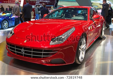 GENEVA - MARCH 8: The new Ferrari FF on display at the 81st International Motor Show Palexpo-Geneva on March 8; 2011  in Geneva, Switzerland.