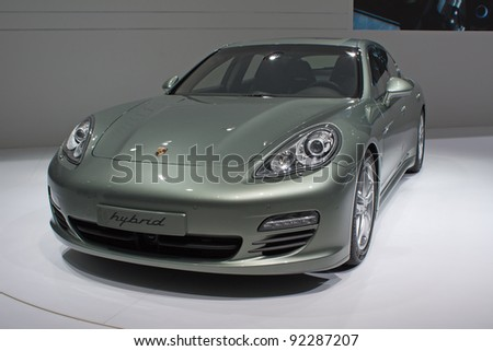 GENEVA - MARCH 8: The new Porsche Panomera hybrid car on display at the 81st International Motor Show Palexpo-Geneva on March 8; 2011  in Geneva, Switzerland.