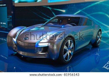 GENEVA - MARCH 8: The Nissan Esflow Electric concept Car preview on display at the 81st International Motor Show Palexpo-Geneva on March 8, 2011 in Geneva, Switzerland. - stock photo