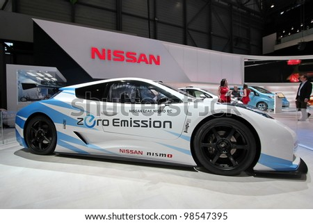GENEVA - MARCH 16 : the Nissan Leaf Nismo RC zero emission on display at the 82nd International Motor Show Palexpo - Geneva on March 16; 2012 in Geneva, Switzerland. - stock photo