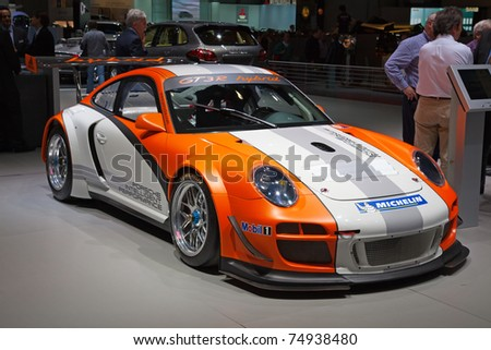 GENEVA - MARCH 8: The Porsche GT3R with hybrid engine on display at the 81st International Motor Show Palexpo-Geneva on March 8, 2011  in Geneva, Switzerland. - stock photo