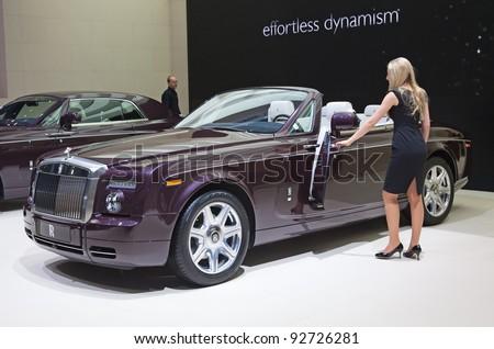 GENEVA - MARCH 8: The Rolls Royce Spirit of Ecstasy on display at the 81st International Motor Show Palexpo-Geneva on March 8; 2011  in Geneva, Switzerland. - stock photo