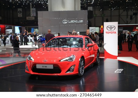 GENEVA, MARCH 3: Toyota GT86 car on display at 85th international Geneva motor Show at Palexpo-Geneva on March 3, 2015 at Geneva, Switzerland. - stock photo