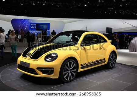 GENEVA, MARCH 3: Volkswagen VW  Beetle car on display at 85th international Geneva motor Show at Palexpo-Geneva on March 3, 2015 at Geneva, Switzerland.  - stock photo