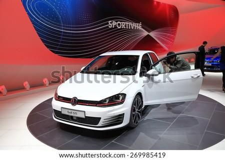 GENEVA, MARCH 3: Volkswagen VW golf gti car on display at 85th international Geneva motor Show at Palexpo-Geneva on March 3, 2015 at Geneva, Switzerland. - stock photo