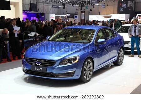 GENEVA, MARCH 3: Volvo S60 car on display at 85th international Geneva motor Show at Palexpo-Geneva on March 3, 2015 at Geneva, Switzerland. - stock photo