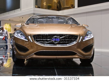 GENEVA - MARCH 7: Volvo S60 Concept on display at the 79th International Motor Show Palexpo-Geneva on March 7; 2009. - stock photo