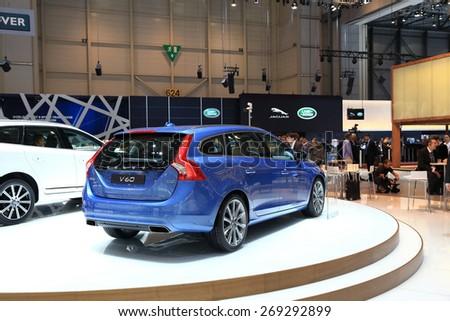 GENEVA, MARCH 3: Volvo V60 car on display at 85th international Geneva motor Show at Palexpo-Geneva on March 3, 2015 at Geneva, Switzerland. - stock photo
