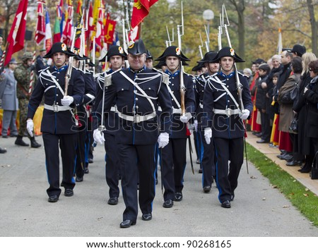 GENEVA - NOVEMBER 13: Soldiers in traditional uniform march at the memorial  service to Geneva soldiers on November 13, 2011 in Geneva Switzerland, attended by veterans and serving soldiers