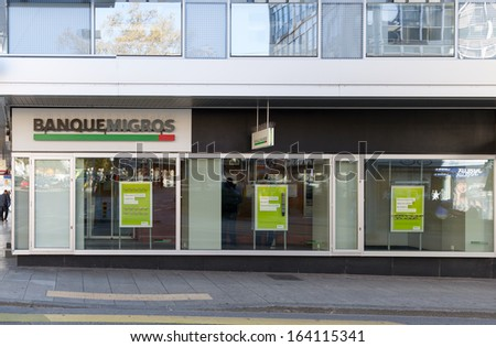 GENEVA - OCTOBER 30: An outlet of Banque Migros, October 30, 2013, Geneva, Switzerland. It is a cooperative society with total assets of CHF 38 billion,  800,0000 customers and 1,400 employees.