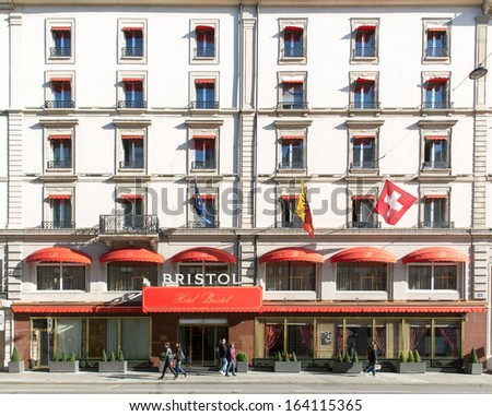 GENEVA - OCTOBER 30: Bristol Hotel, October 30, 2013, Geneva, Switzerland.  It is part of the Worldwide Group of 500 independent hotels in 250 destinations and 65 countries.
