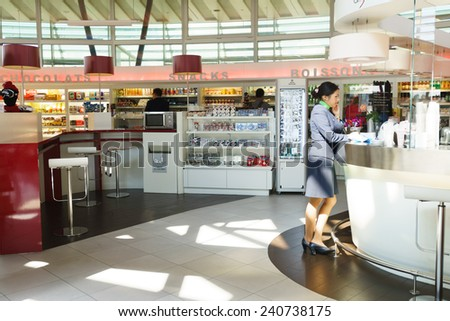 GENEVA - SEP 16: Airport interior on September 16, 2014 in Geneva, Switzerland. Geneva International Airport is the international airport of Geneva, Switzerland. It is located 4 km of the city centre