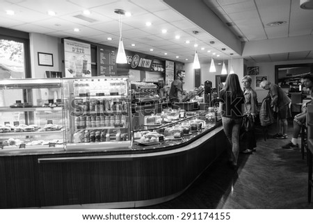GENEVA - SEP 11: cafe inetrior on September 11, 2014 in Geneva, Switzerland. Geneva is the second most populous city in Switzerland and is the most populous city of Romandy