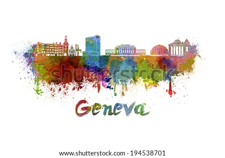 Geneva skyline in watercolor splatters with clipping path