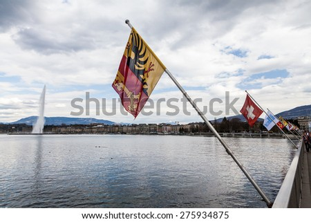 GENEVA, SWITZERLAND - APRIL 11: Exterior views of the buildings and fountain at the Geneva Lake on April 11, 2015. Its the second most populous city in Switzerland (after Zurich). - stock photo