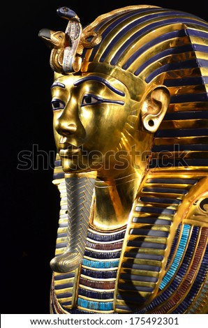 GENEVA, SWITZERLAND - DECEMBER 17: Tutankhamun's death mask at the Tutankhamun exhibition :  December 17, 2013 in Geneva Switzerland - stock photo