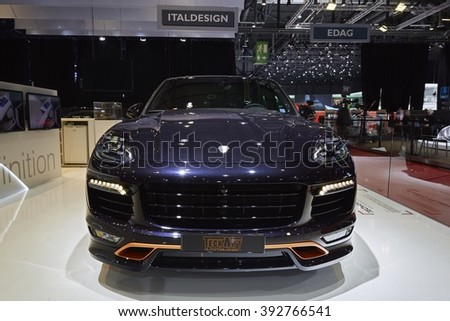 Geneva, Switzerland - February 29, 2016: 2016 TechArt Porsche Cayenne presented on the 86th Geneva Motor Show in the PalExpo