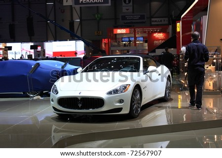 GENEVA, Switzerland - MARCH 3 : A maserati car on display at 81th International Motor Show Palexpo-Geneva on March 3, 2010 in Geneva, Switzerland.