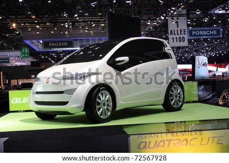 GENEVA, Switzerland - MARCH 3 : A QUATRAC LITE AVANT PREMIERE car on display at 81th International Motor Show Palexpo-Geneva on March 3, 2010 in Geneva, Switzerland. - stock photo