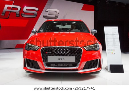 GENEVA, SWITZERLAND - MARCH 4, 2015: Audi RS3 Sportback Quattro at the 85th International Geneva Motor Show in Palexpo, Geneva. - stock photo