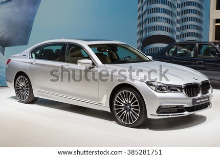 GENEVA, SWITZERLAND - MARCH 1, 2016: BMW 740Le xDrive iPerformance presented at the 86th International Geneva Motor Show in Palexpo, Geneva. - stock photo