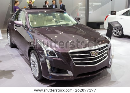 GENEVA, SWITZERLAND - MARCH 3, 2015: Cadillac CTS car at the 85th International Geneva Motor Show in Palexpo, Geneva.