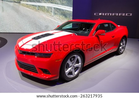 GENEVA, SWITZERLAND - MARCH 4, 2015: Chevrolet Camaro at the 85th International Geneva Motor Show in Palexpo, Geneva. - stock photo