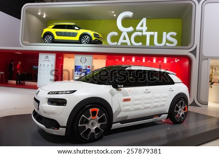 GENEVA, SWITZERLAND - MARCH 4, 2015: Citroen C4 Cactus at the 85th International Geneva Motor Show in Palexpo. - stock photo