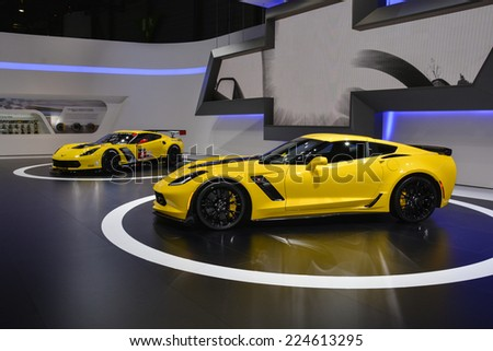 GENEVA, SWITZERLAND - MARCH 4, 2014: Corvette Z06 and C7.R made their European debut during the Geneva Motor Show. - stock photo
