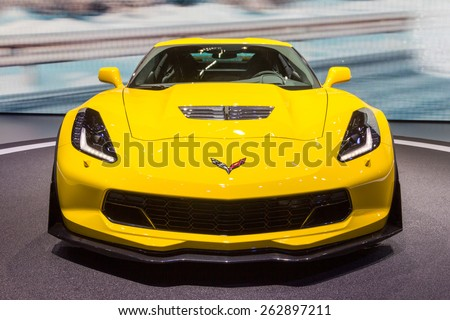 GENEVA, SWITZERLAND - MARCH 4, 2015: Corvette Z06 debuts at the 85th International Geneva Motor Show in Palexpo, Geneva. The Z06 is a high-performance version of the Chevrolet Corvette - stock photo