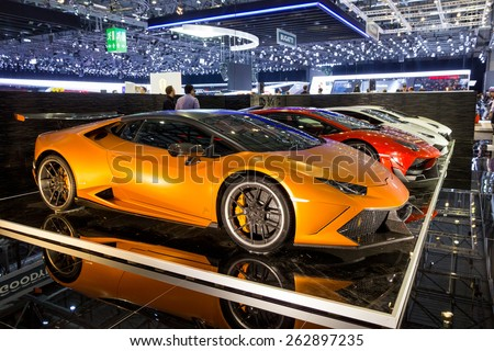 geneva switzerland march 3 2015 customized lamborghini supercars from dmc exotic car