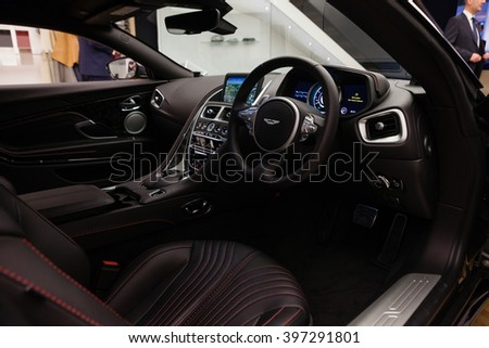 GENEVA, SWITZERLAND - MARCH 1: Geneva Motor Show on March 1, 2016 in Geneva, Aston Martin DB11, interior view - stock photo