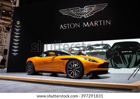 GENEVA, SWITZERLAND - MARCH 1: Geneva Motor Show on March 1, 2016 in Geneva, Aston Martin DB11, front-side view - stock photo