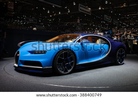 GENEVA, SWITZERLAND - MARCH 1: Geneva Motor Show on March 1, 2016 in Geneva, Bugatti Chiron, front-side view
