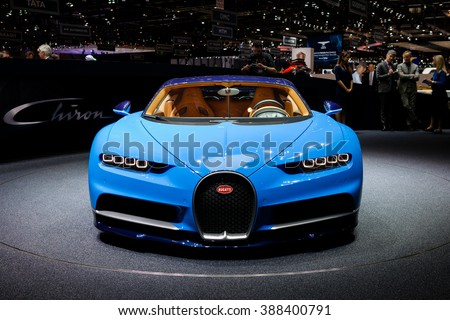 GENEVA, SWITZERLAND - MARCH 1: Geneva Motor Show on March 1, 2016 in Geneva, Bugatti Chiron, front view - stock photo