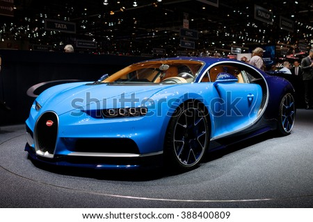 GENEVA, SWITZERLAND - MARCH 1: Geneva Motor Show on March 1, 2016 in Geneva, Bugatti Chiron, front-side view - stock photo