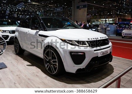 GENEVA, SWITZERLAND - MARCH 1: Geneva Motor Show on March 1, 2016 in Geneva, Caractere Range Rover Evoque, side-front view - stock photo