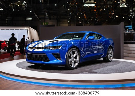 GENEVA, SWITZERLAND - MARCH 1: Geneva Motor Show on March 1, 2016 in Geneva, Chevrolet Camaro, front-side view - stock photo