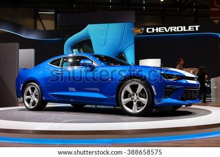 GENEVA, SWITZERLAND - MARCH 1: Geneva Motor Show on March 1, 2016 in Geneva, Chevrolet Camaro, front-side view - stock photo
