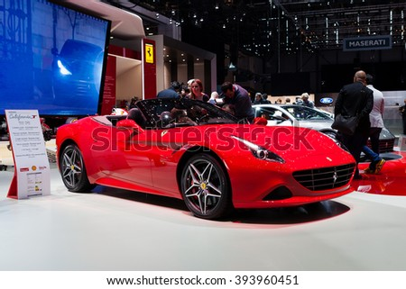 GENEVA, SWITZERLAND - MARCH 1: Geneva Motor Show on March 1, 2016 in Geneva, Ferrari California T, front-side view - stock photo