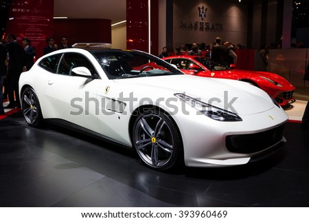 GENEVA, SWITZERLAND - MARCH 1: Geneva Motor Show on March 1, 2016 in Geneva, Ferrari GTC4 Lusso, front-side view - stock photo