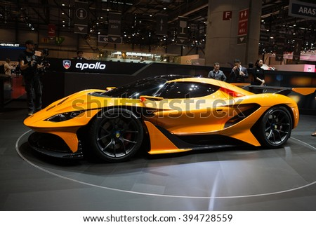 GENEVA, SWITZERLAND - MARCH 1: Geneva Motor Show on March 1, 2016 in Geneva, Gumpert Apollo Arrow, front-side view - stock photo
