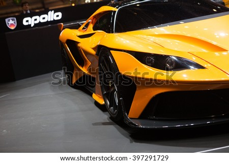GENEVA, SWITZERLAND - MARCH 1: Geneva Motor Show on March 1, 2016 in Geneva, Gumpert Apollo Arrow, front-side view - stock photo