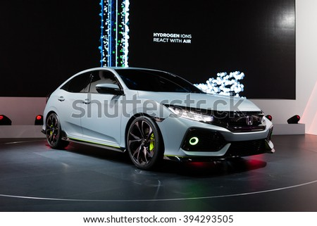 GENEVA, SWITZERLAND - MARCH 1: Geneva Motor Show on March 1, 2016 in Geneva, Honda Civic Prototype, front-side view - stock photo