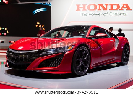 GENEVA, SWITZERLAND - MARCH 1: Geneva Motor Show on March 1, 2016 in Geneva, Honda NSX, front-side view - stock photo