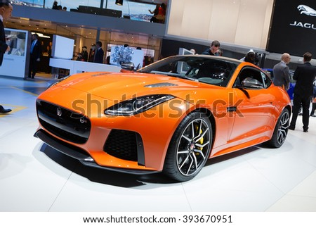 GENEVA, SWITZERLAND - MARCH 1: Geneva Motor Show on March 1, 2016 in Geneva, Jaguar F-Type SVR, front-side view - stock photo