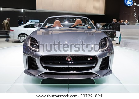 GENEVA, SWITZERLAND - MARCH 1: Geneva Motor Show on March 1, 2016 in Geneva, Jaguar F-Type SVR, front view - stock photo