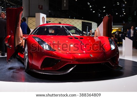 GENEVA, SWITZERLAND - MARCH 1: Geneva Motor Show on March 1, 2016 in Geneva, Koenigsegg Resera, front view - stock photo