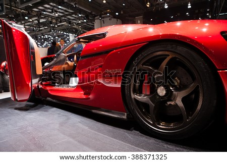 GENEVA, SWITZERLAND - MARCH 1: Geneva Motor Show on March 1, 2016 in Geneva, Koenigsegg Resera, side detail view - stock photo